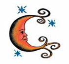 Moon Temporary Tattoo Orange