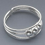 Sterling Silver Toe Ring 3-Ball Design