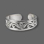 Sterling Silver Toe Ring Filigree Pattern Design