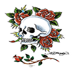 Ed Hardy Skull Day of the Dead w Roses Temporary Tattoo