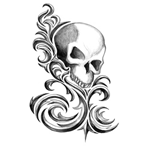 Iron Tribal Stylized Skull Temporary Tattoo