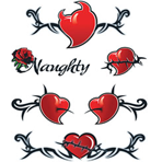 Naughty Barbed Hearts Temporary Tattoo Sheet