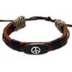 Peace Sign on Leather Bracelet